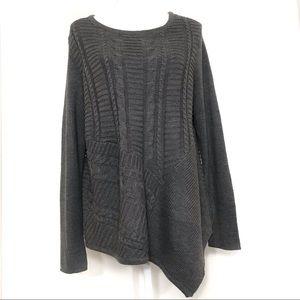 Dana Buchman Gray asymmetrical knit sweater